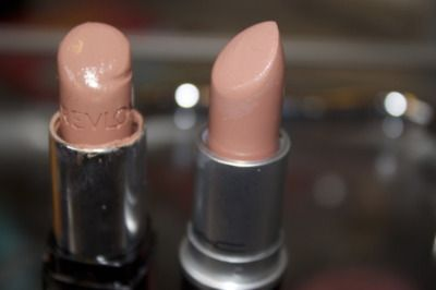 dupe alert! Revlon Colorburst lipstick in Soft Nude vs Mac's Creme 'd Nude.