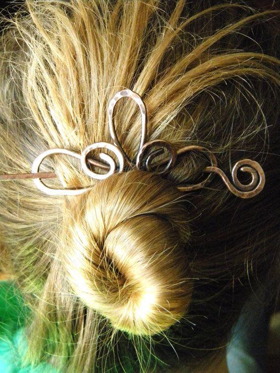 Copper Hair Clip Hair Stick Hair Accessories by ElizabellaDesign, $18.50