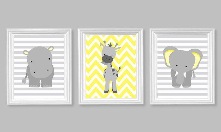Nursery Decor, Elephant Nursery Art, Grey and Lemon Yellow, Baby Nursery Decor, Baby Room Decor, Giraffe, Chevron, Hippo, Zoo Nursery Jungle by SweetPeaNurseryArt on Etsy