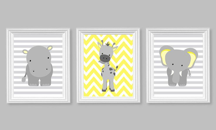 Nursery Decor, Elephant Nursery Art, Grey and Lemon Yellow, Baby Nursery Decor, Baby Room Decor, Giraffe, Chevron, Hippo, Zoo Nursery, Jungle Decor:  This is a set of the three prints shown above. Prints are freshly printed to order on your choice of 69 lb commercial grade semi-gloss photo paper or canvas using genuine Canon inks for long lasting vibrant color.  ***Please read before ordering:  *Canvases are .75 deep and come ready to hang right out of the box. They do not need to be framed…