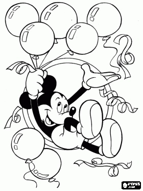 Mickey Mouse with balloons and streamers in celebration of