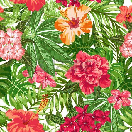foglia tropicale: Seamless esotico con foglie e fiori tropicali su uno sfondo bianco. Plumeria, ibisco, monstera, palmo. Illustrazione vettoriale.