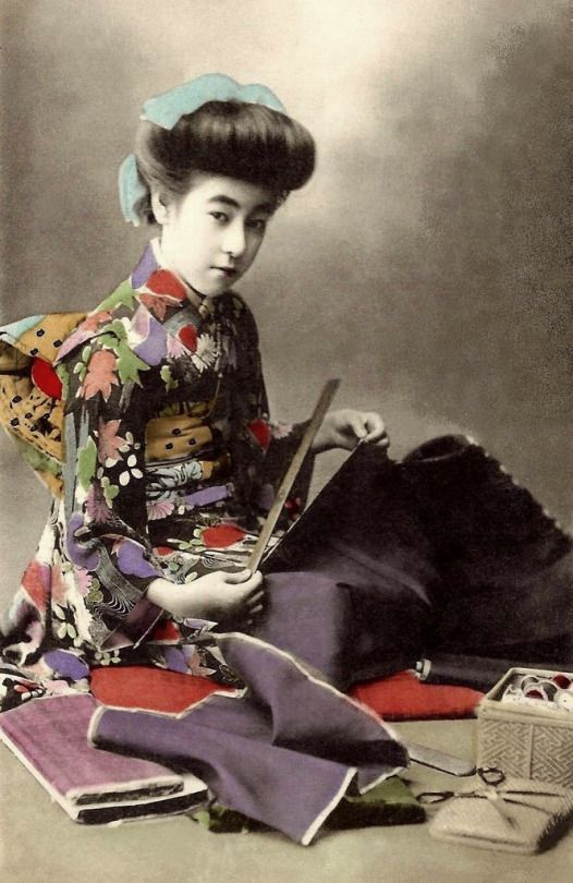 Geisha. Japan.  Ca.1908-12 hand-colored collotype print.  Image via Okinawa Soba on Flickr