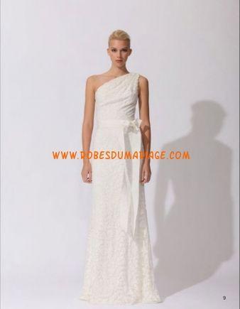 Tadashi Shoji Robe de Mariée Asymétrique ivoire simple mousseline Style 3E216L