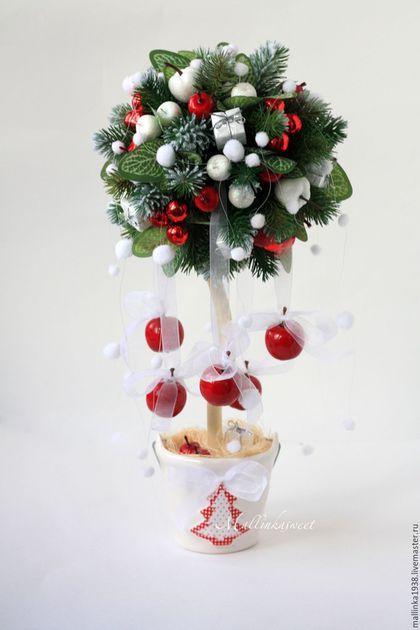 """Новый год 2016 ручной работы. Ярмарка Мастеров - ручная работа. Купить Новогодний топиарий, дерево счастья """"Райские яблочки"""". Handmade."""