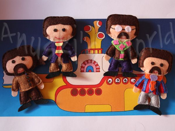 The Beatles in felt by Anuski's World ||| plush, doll, fabric, felt, Paul McCartney, George Harrison, John Lennon, Ringo Starr