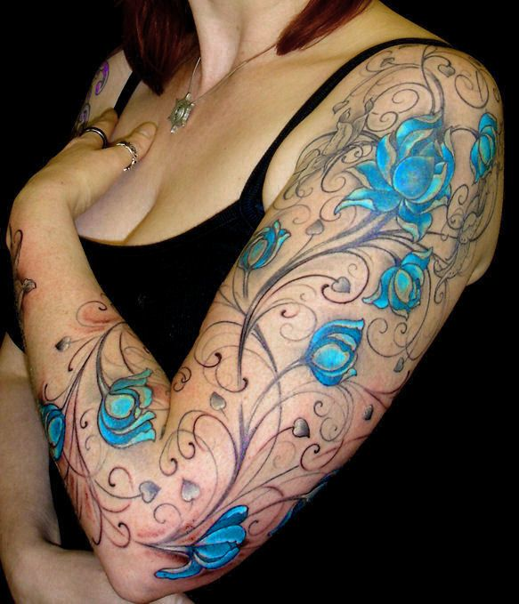 Tattoo full arm blue flowers: Arm Tattoo'S, Tattoo'S Idea, Flower Tattoo'S, Vines Tattoo'S, Flower Vines, Sleeve Tattoo'S, Blue Flower, Electric Blue, Blue Roses