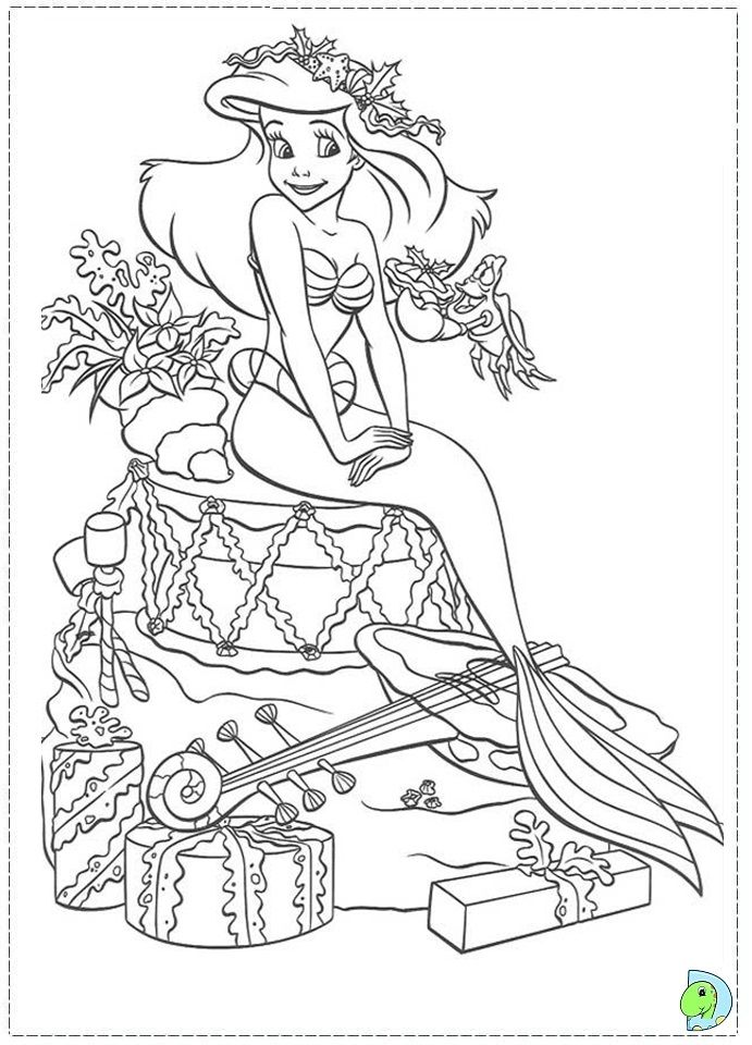 Christmas Coloring Pages Pictures Mermaid Rhpinterest: Ariel Christmas Coloring Pages At Baymontmadison.com