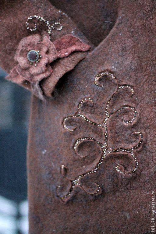 """Купить Зимнее полупальто """"Прага"""" - коричневый, шоколад, кофе, какао, теплое пальто, зимнее пальто"""