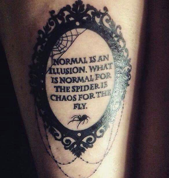 Adams family quote tattoo #tattoo #adamsfamily #spidertattoo #quote