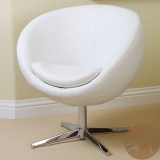 Christopher Knight Home Modern White Leather Roundback Chair | Overstock.com Shopping - The Best Deals on Office Chairs