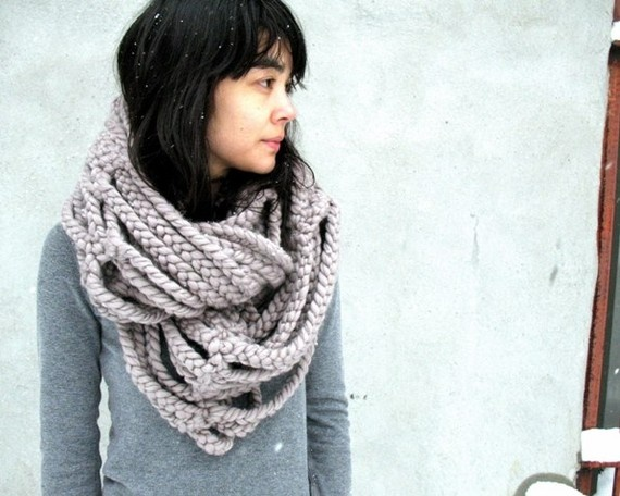 Large Pale Grey Cloud Scarf by Rosetung.  Way too artsy!  Looks like someone needs to stay away from the docks! ;)