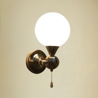 pull chain switch chrome finish wall sconce with white globe shade. Black Bedroom Furniture Sets. Home Design Ideas