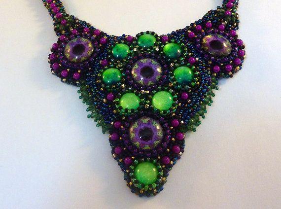 Beads embroidery necklace  Nebula by IzabelaCichocka on Etsy