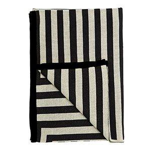 Meta ecru/sort/sort plaid / knitted blanket / 100% wool / made in denmark
