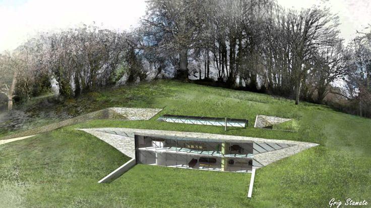 Earth sheltered houses hillside homes earth house for Earth berm homes