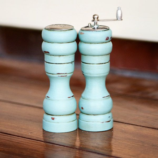 CHOOSE YOUR COLOR - Painted,Distressed, Wooden Pepper Mill and Salt Shaker - Shabby Chic Kitchen Accessory - Provence. $25.00, via Etsy.