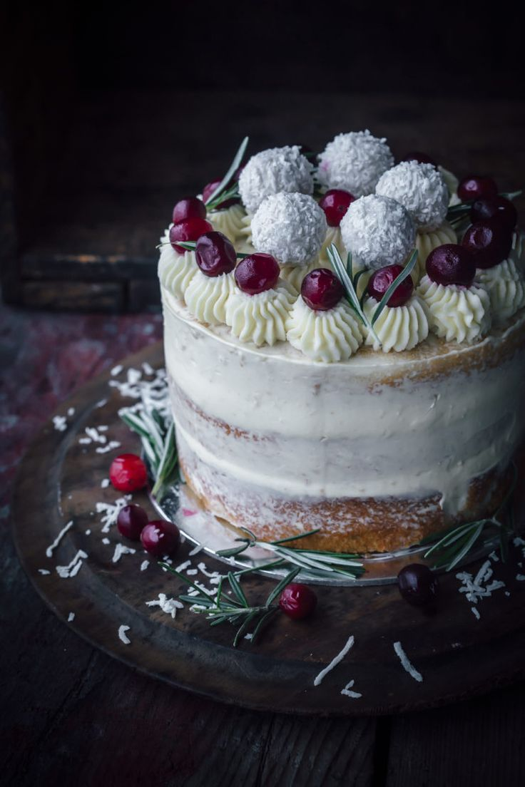 Coconut Cranberry Cake With White Chocolate Buttercream