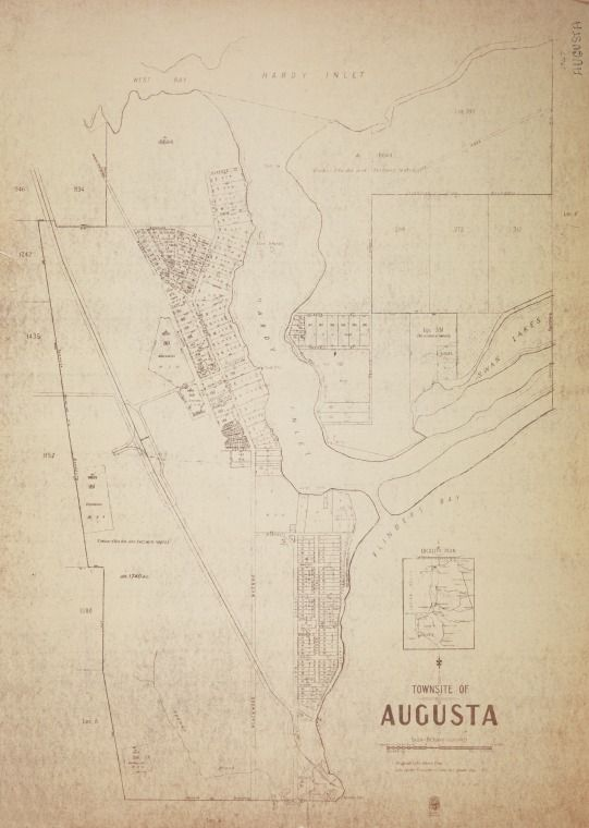 AUGUSTA Cadastral map showing land use and zoning. Shows original lots and lots under Transfer of Land Act. Includes locality plan. Part of collection: Townsite maps, Western Australia. https://encore.slwa.wa.gov.au/iii/encore/record/C__Rb1851187