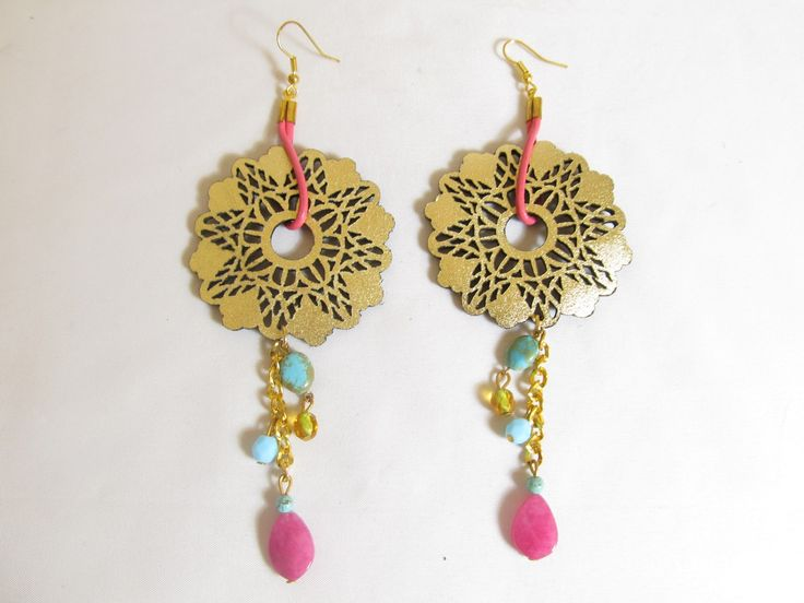 Handmade earrings with gold leather filigree (1 pair)  Made with gold leather filigree, leather cord, chain, antiallergic hangings, semiprecious stones and glass beads.