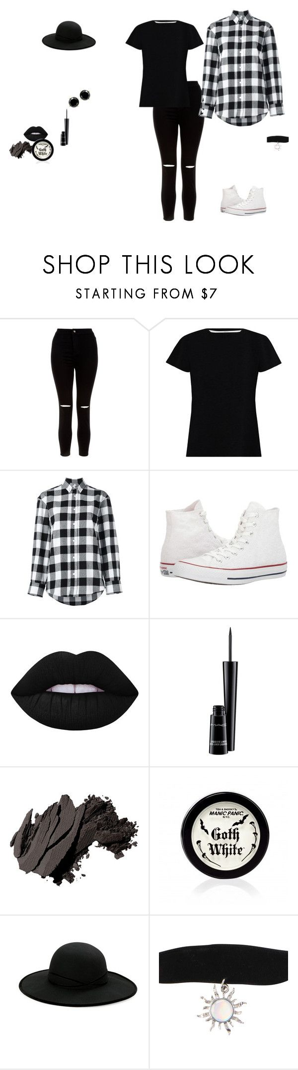 """Fashion 6"" by flowertyra on Polyvore featuring New Look, Zimmermann, Golden Goose, Converse, Lime Crime, MAC Cosmetics, Bobbi Brown Cosmetics, Betmar and Hot Topic"