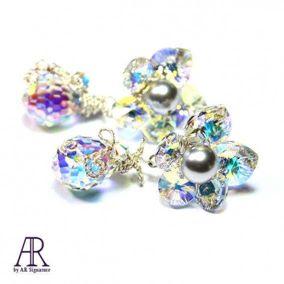 AR by AR Signature Frozen Flower, Great earring made with genuine Swarovski® Aurora Borealis Crystal and pearls..