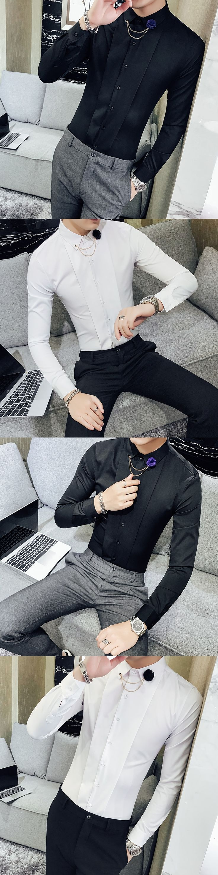 Mens Dress Shirts Black Dinner Dress Mens Clothing 2018 British Style Vetements Wedding Mens Shirts Slim Fit Social Club Vestido