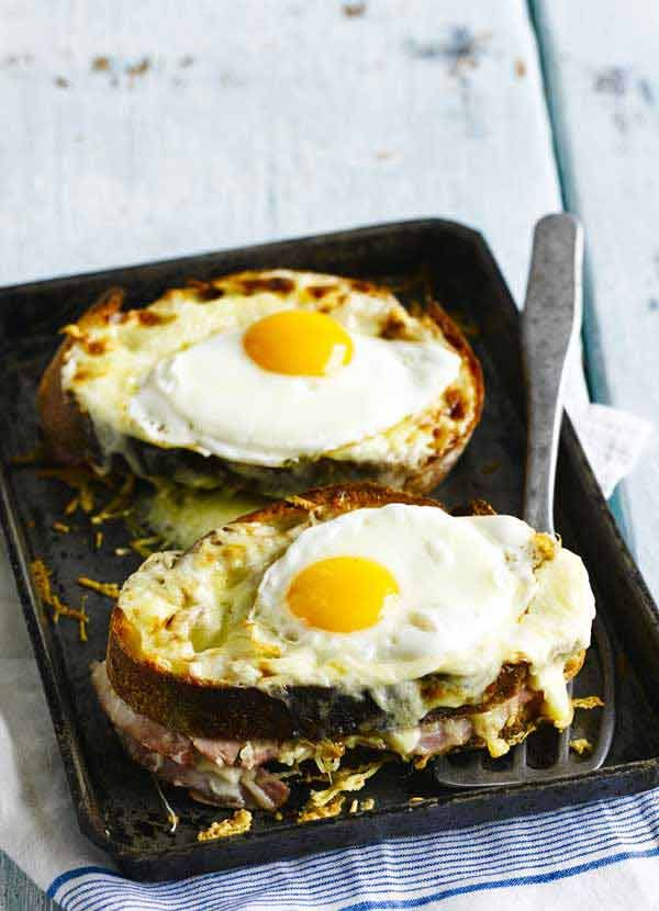 Quick croque madame. Croque madame is a classic favourite and this quick version makes for an easy indulgent meal. Ready in just 30 minutes, it's perfect for a midweek comfort food treat. Photograph: Sam Stowell