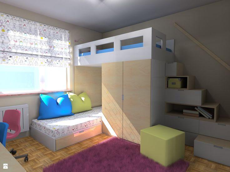 schody - szafki na antresolę w pokojach dzieci