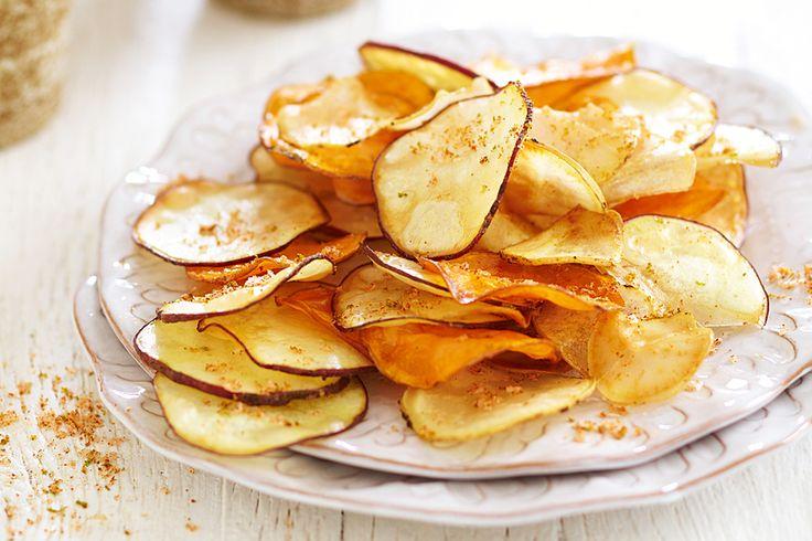 Sweet potato crisps with chilli-lime salt -  http://www.vegansdontbite.com/sweetpotatocrispswithchilli-limesaltrecipe/  #vegan #recipes