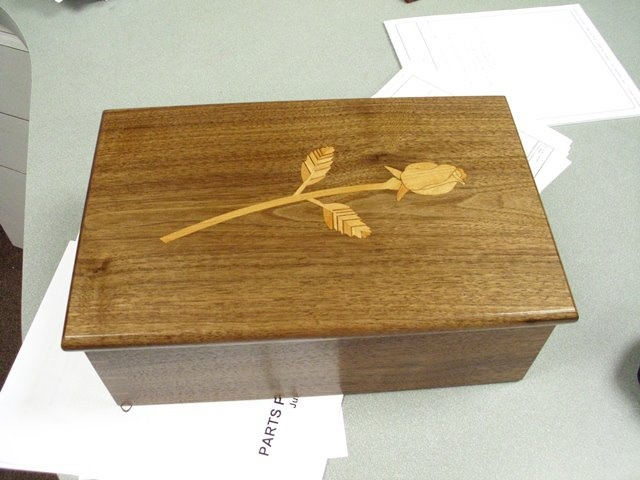My rose inlay box that my husband had made for me.