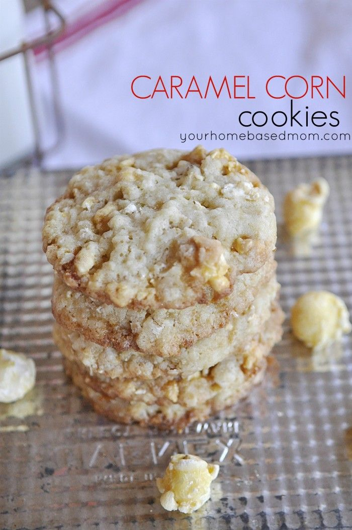 Caramel Corn PopcornCaramel Cookies, Caramel Popcorn, Corn Popcorn, Popcorn Cookies, Sweets Treats, Popcorn Recipe, Cookies Recipe, Yummy Treats, Caramel Corn Cookies
