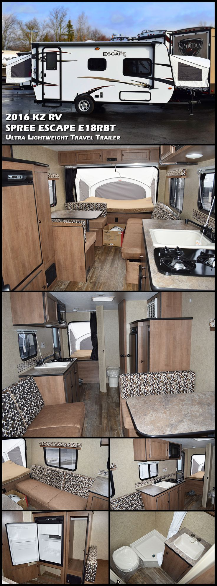 "The 2016 KZ RV SPREE ESCAPE E18RBT Travel Trailer offers the perfect way to enjoy your own weekend ""escape"". You'll find this E18RBT expandable trailer to be spacious from end-to-end. With plenty of storage both inside and out which allows you to pack everything you need. The kitchen and complete bath make extended get-a-ways seem just like home. With its light-weight design the Escape can even be towed with a mini-van."
