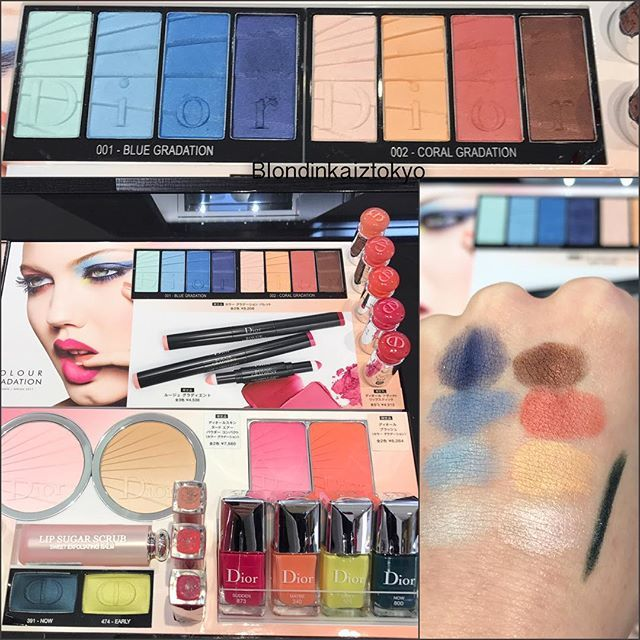 Dior -весенняя лимитированная коллекция макияжа 2017 💄#colourgradation свотчи 2  палетки теней 001&002 и карандашик для глаз . 😍#лимитированнаяколлекция #весенняяколлекция #новинкикосметики #палеткатеней #diorspring2017 #diorcosmetics #beautyblog #blondinkaiztokyo