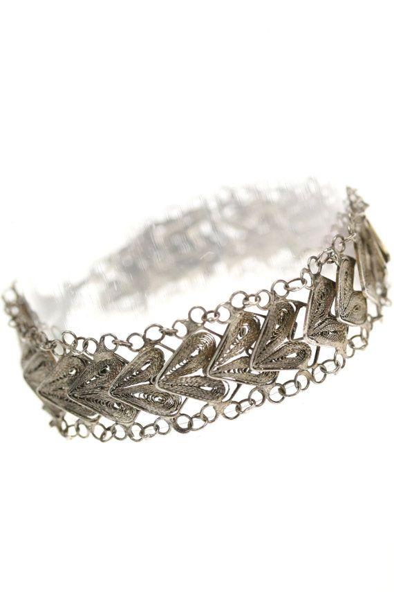 Vintage Sterling Silver Filigree Heart Bracelet