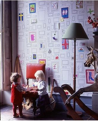 I'd love to put this is my little artist's room. Black & White Frames Wallpaper : Kids can hang creations in each frame. LOVE THIS! Its like their own  giant scrapbook to fill up over the years!