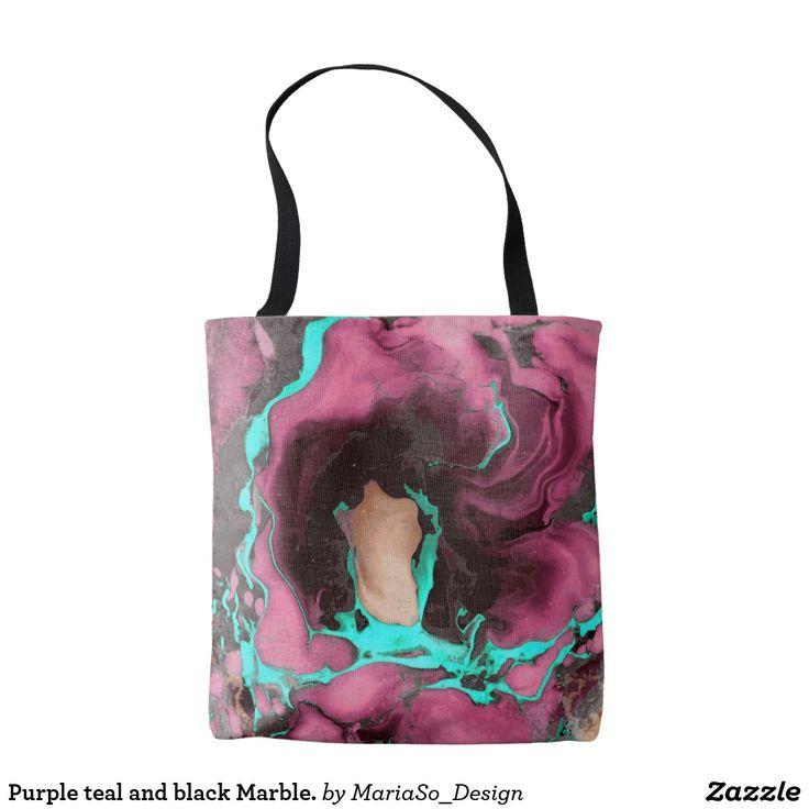 Purple teal and black Marble. Tote Bag