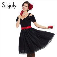 Sisjuly 2017 vintage платья женская благородный партия dress черное кружево твердые sexy dress лето спагетти ремень короткие старинные платья