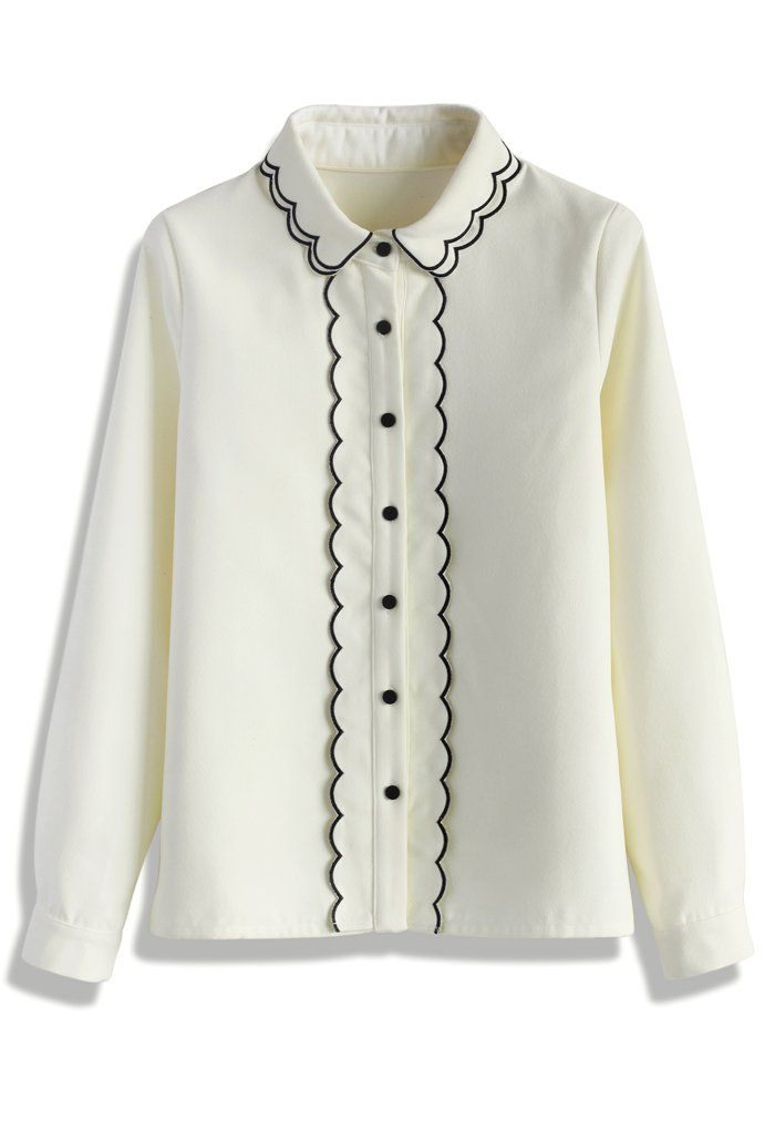 Girly White Shirt with Scroll Trim - New Arrivals - Retro, Indie and Unique Fashion
