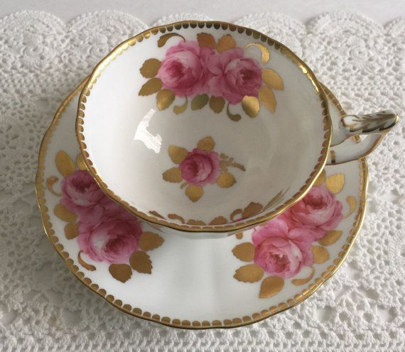 Beautiful Pink Rose Royal Chelsea New Chelsea Staffs China Tea Cup & Saucer