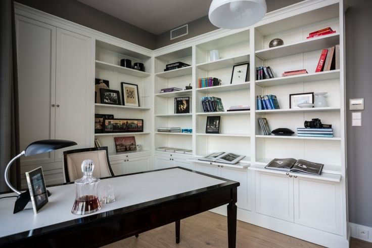 Apartment Warsaw centre luxurious white sofa couch lamp spacious timeless Library Desk