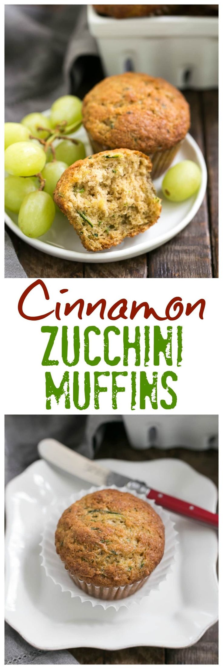 Cinnamon Zucchini Muffins | Tender, moist zucchini muffins kissed with cinnamon! @lizzydo