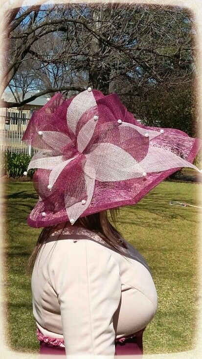 Red wine and blush pink Sinamay Hat