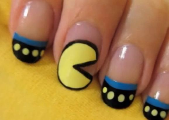 Pac-Man manicure  ===========================    nail art   nail polish   nails   nail design
