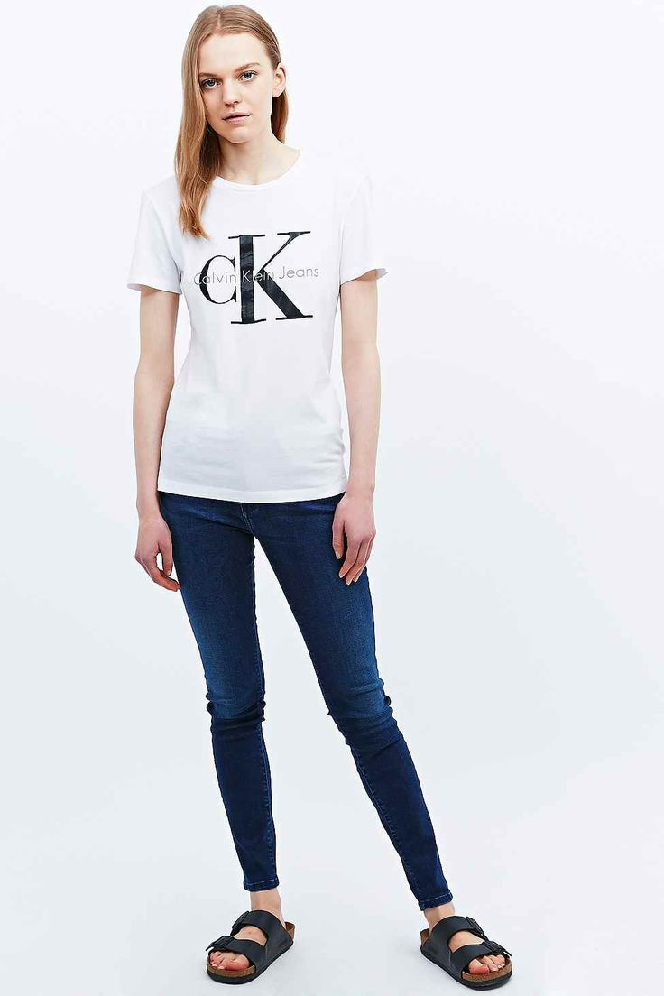 Calvin Klein Jeans Shrunken Tee in White