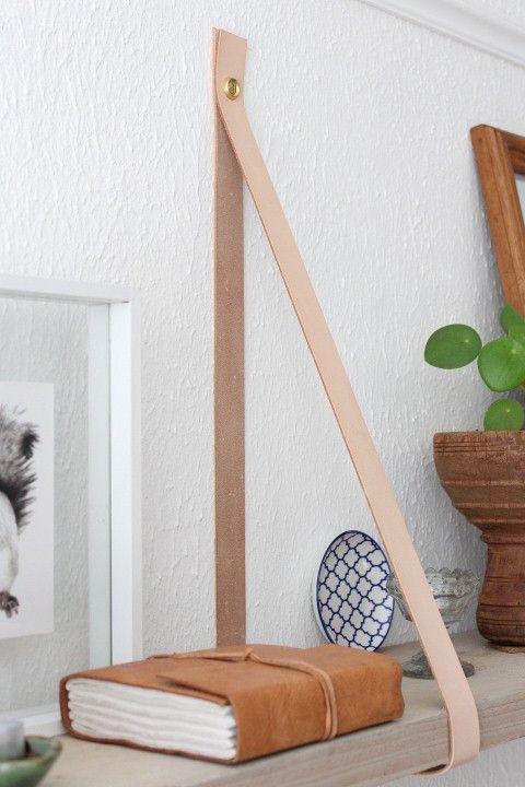 wandplank met leren banden