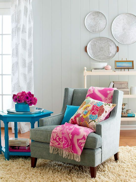 We love this colorful sitting area! (Interior design, home decor, fun, creative, ideas, inspiration, amazing, different, interesting, style, cosy,  warm, armchair, arm, chair, light, blue coffee table, tea, end, side)