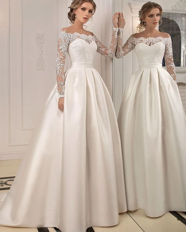 Off the Shoulder Lace Bodice Ivory Satin Fall Marriage ceremony Costume with Lengthy Sleeves