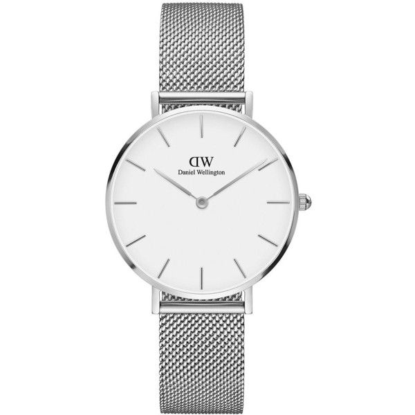 Daniel Wellington Classic Petite Stainless Steel Sterling White Dial... ($179) ❤ liked on Polyvore featuring jewelry, watches, silver, daniel wellington, daniel wellington watches, water resistant watches, white faced watches and stainless steel wrist watch