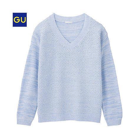 GU(GU)ワッフルVネックセーター(長袖) - GU ジーユー